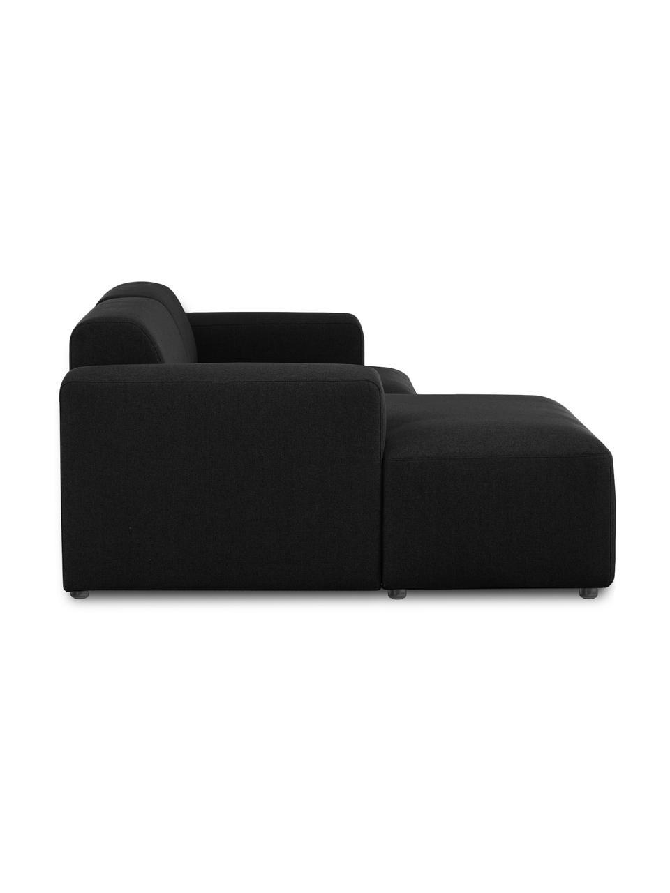 Hoekbank Melva (3-zits) in zwart, Bekleding: 100% polyester De bekledi, Frame: massief grenenhout, FSC-g, Poten: kunststof, Geweven stof zwart, B 239 x D 143 cm