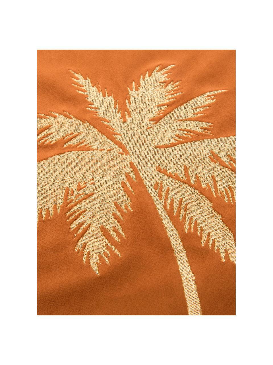 Glänzende Samt-Kissenhülle Palmsprings mit Stickerei, 100% Polyestersamt, Orange, Goldfarben, 40 x 40 cm