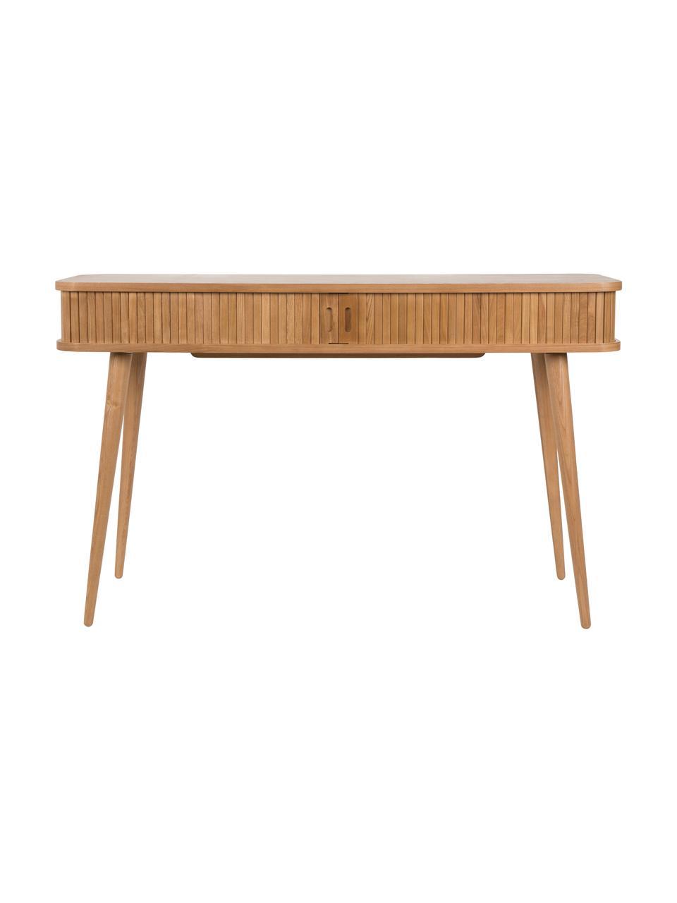Consolle in legno con cassetti Barbier, Corpo: marrone Ante scorrevoli e gambe: legno di frassino, Larg. 120 x Prof. 35 cm