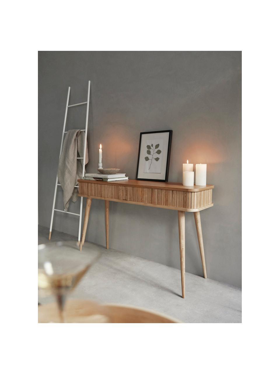 Houten bijzettafel Barbier met opbergruimte en geribbelde voorzijde, Frame: MDF, essenhoutfineer, Frame: bruin Schuifdeuren en poten: houtkleurig, 120 x 35 cm