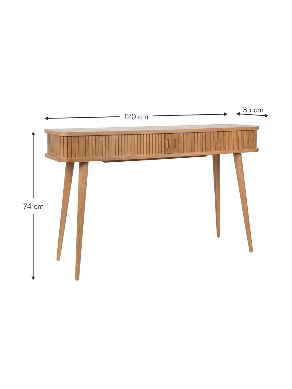 Consolle in legno con cassetti scanalati Barbier, Legno di frassino, Larg. 120 x Prof. 35 cm