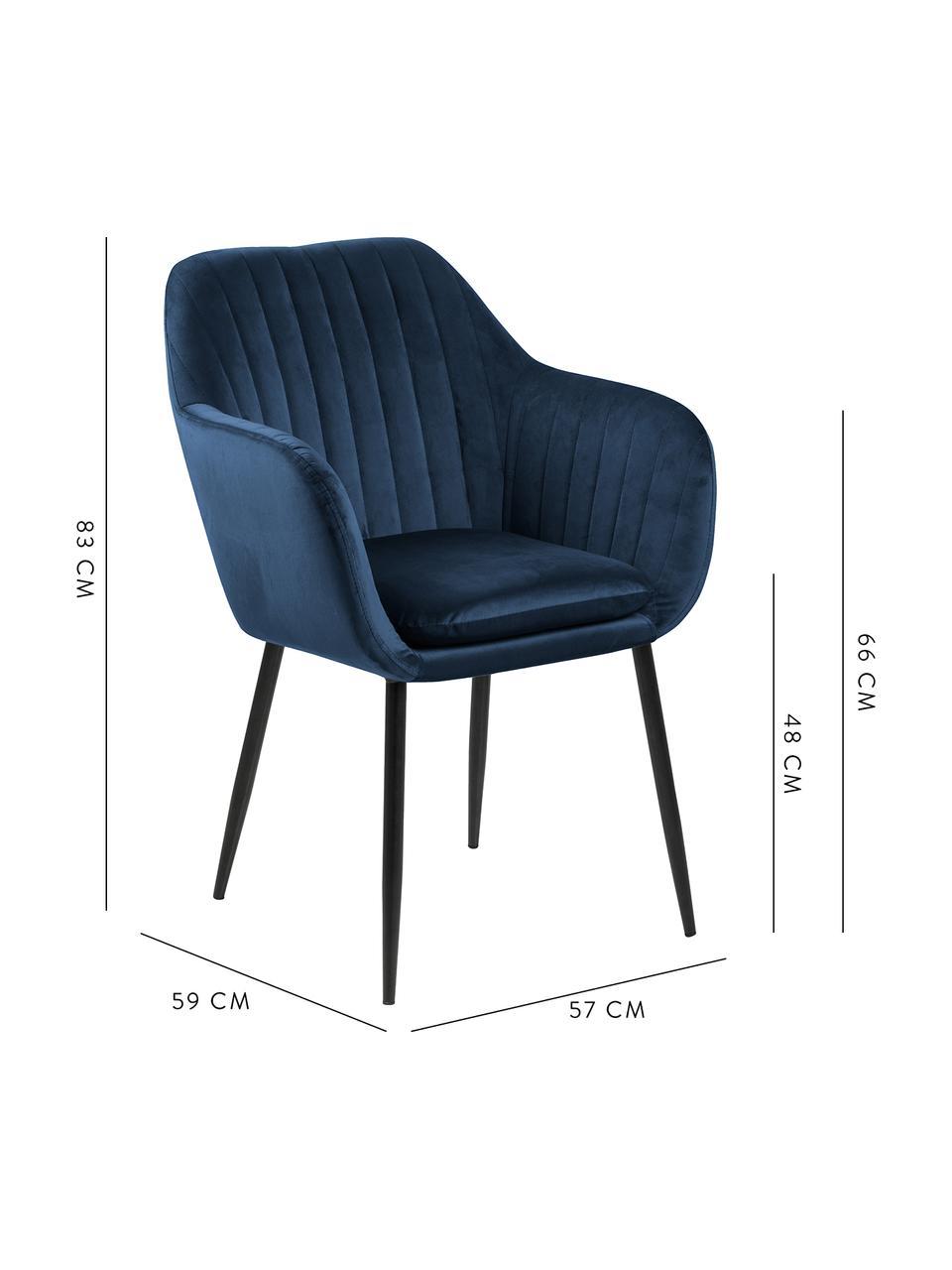 Sametová židle spodručkami a kovovými nohami Emilia, Tmavě modrá Nohy: černá