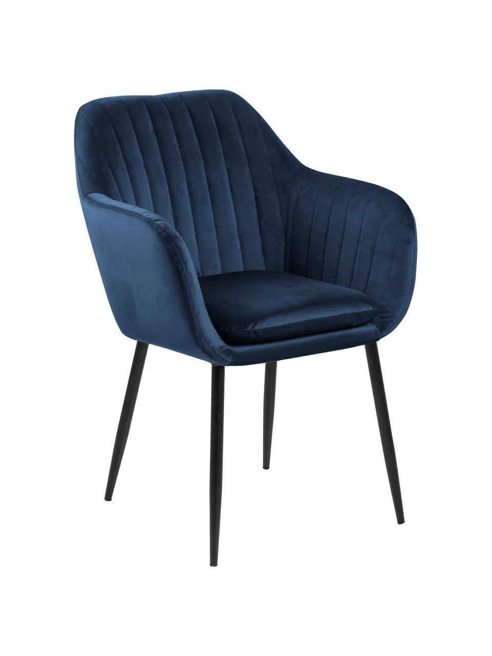 Krzesło z podłokietnikami z aksamitu i metalowymi nogami Emilia, Tapicerka: aksamit poliestrowy Dzięk, Nogi: metal lakierowany, Aksamitny ciemny niebieski, czarny, S 57 x G 59 cm