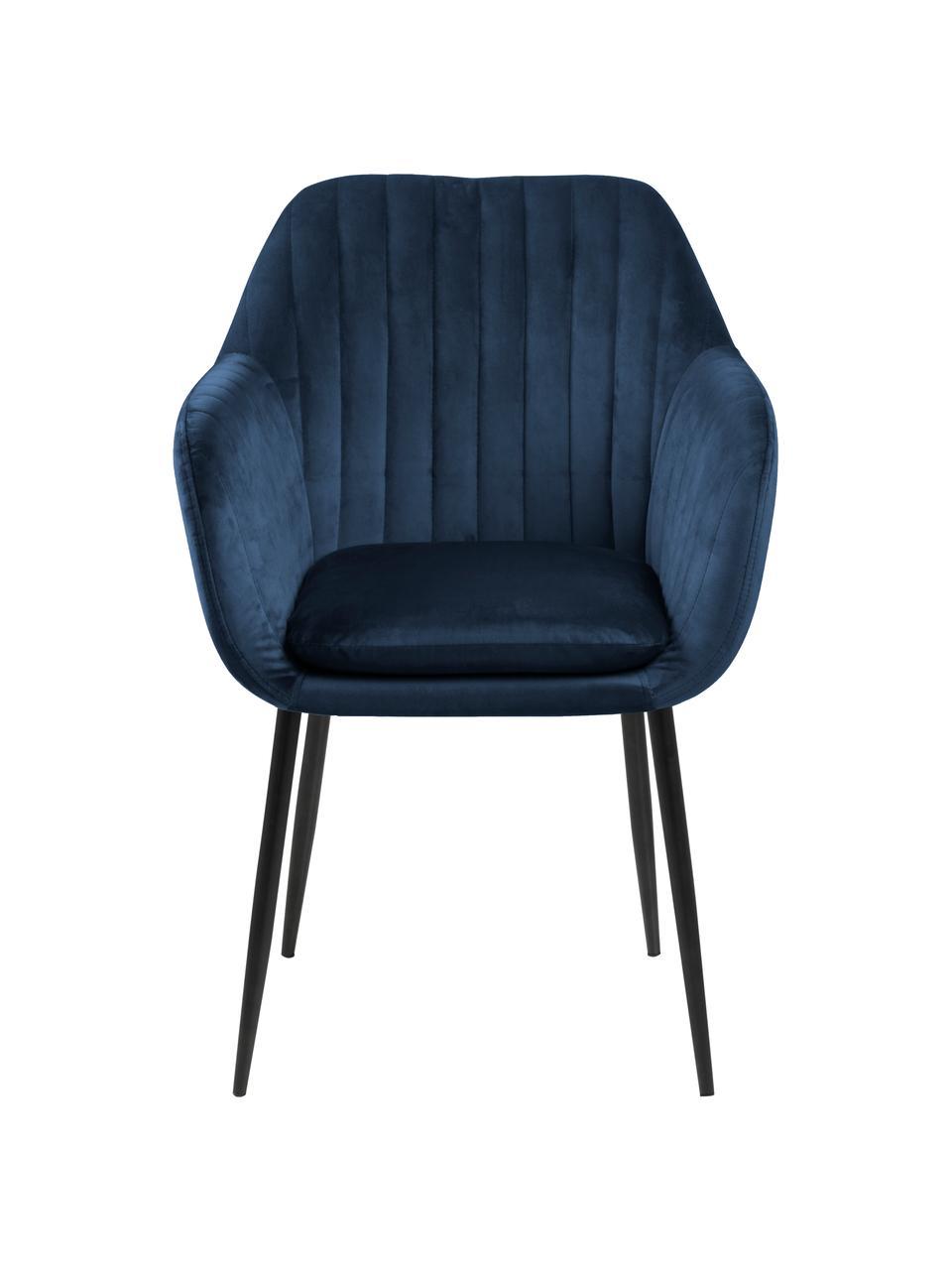 Samt-Armlehnstuhl Emilia in Blau mit Metallbeinen, Bezug: Polyestersamt Der hochwer, Beine: Metall, lackiert, Samt Dunkelblau, Beine Schwarz, B 57 x T 59 cm