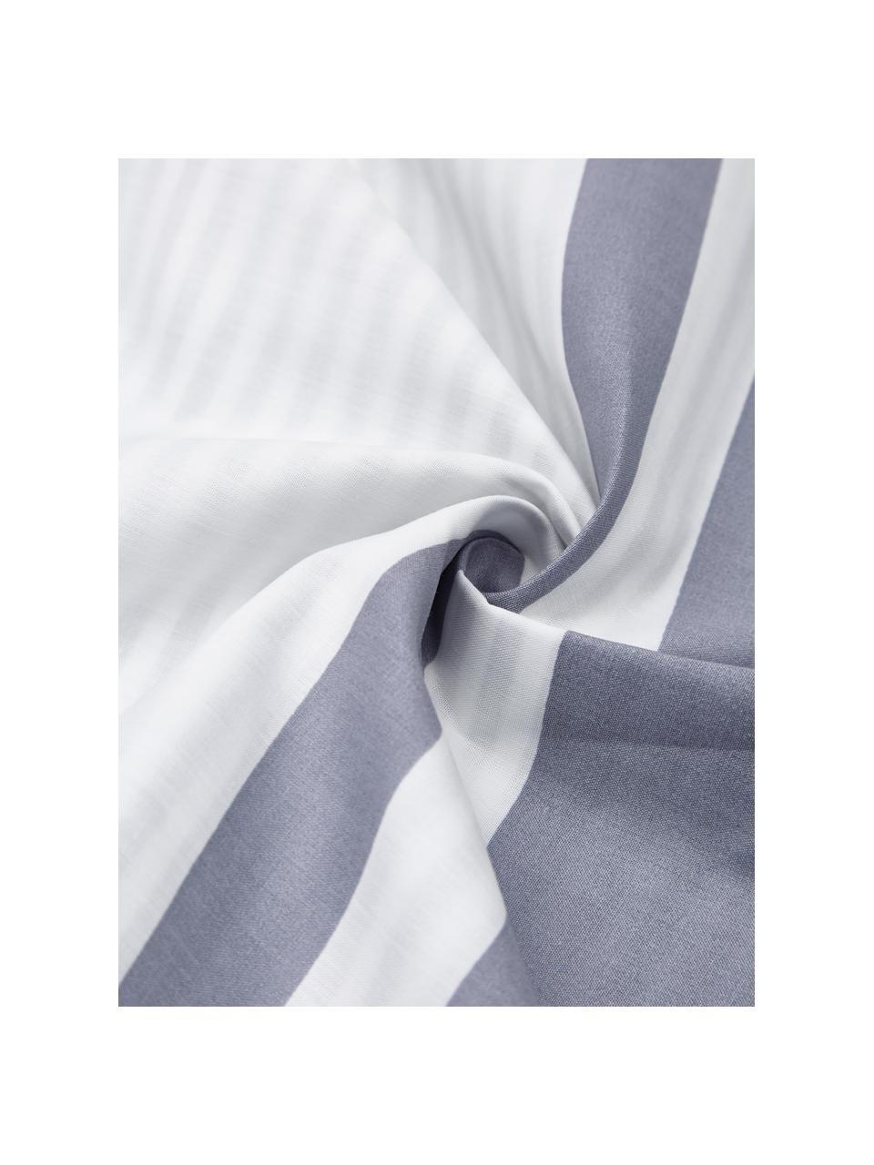 Gestreifte Perkal-Wendebettwäsche Kinsley aus gewaschener Bio-Baumwolle, Webart: Perkal Fadendichte 180 TC, Blau, Weiß, 240 x 220 cm + 2 Kissen 80 x 80 cm
