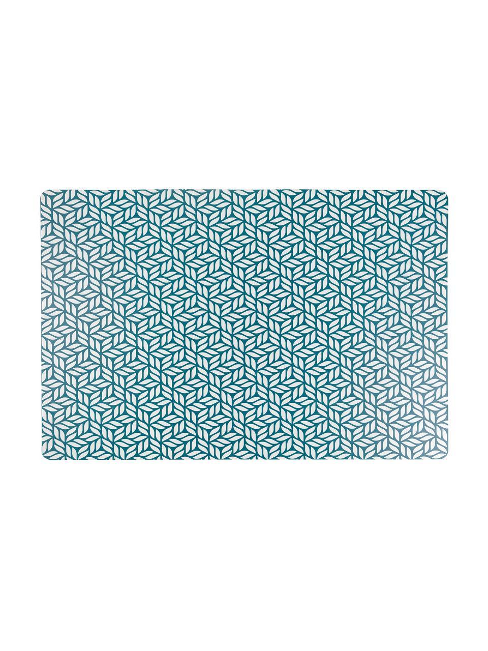 Kunststoff-Tischsets Bali Leaf, 6er Set, PVC-Kunststoff, Blau, Weiß, 30 x 45 cm