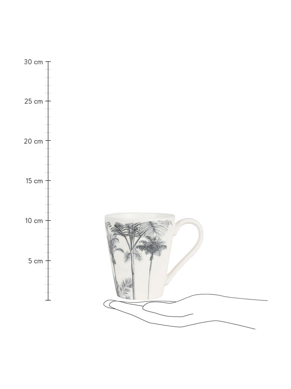 Tassen Papaye mit Palmenmotiv, 4 Stück, Porzellan, Weiß, Schwarz, Ø 10 x H 11 cm