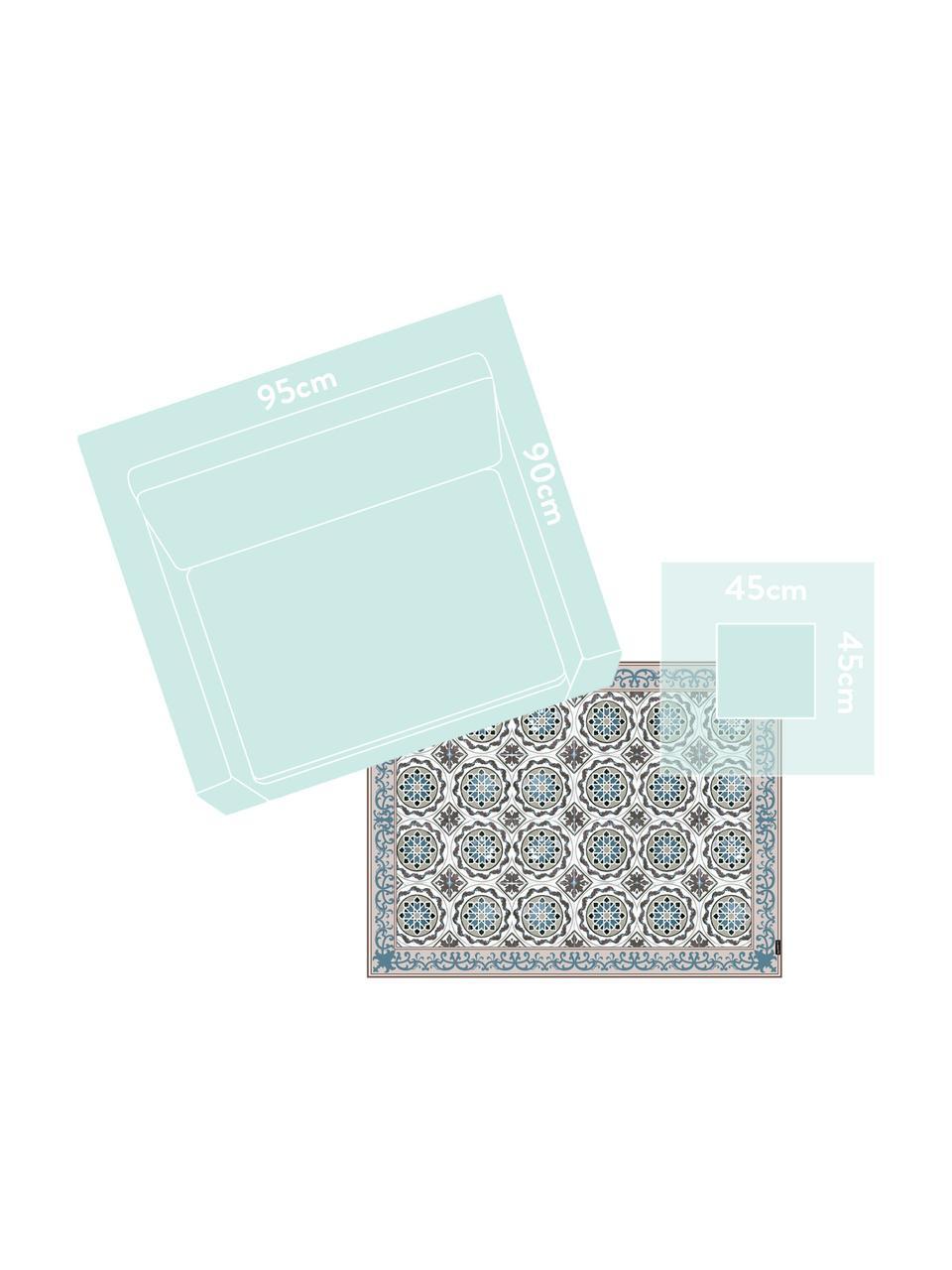 Flache Vinyl-Bodenmatte Selina in Beige/Blau, rutschfest, Vinyl, recycelbar, Beige, Braun, Blau, 65 x 85 cm