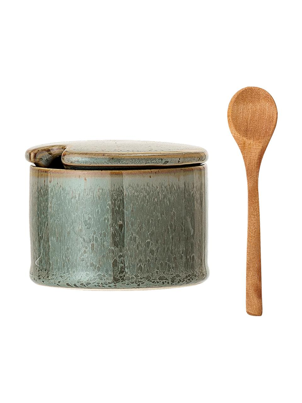 Steingut Zuckerdose mit Löffel Pixie mit Holzlöffel, Dose: Steingut, Löffel: Akazienholz, Grüntöne, Ø 8 x H 6 cm