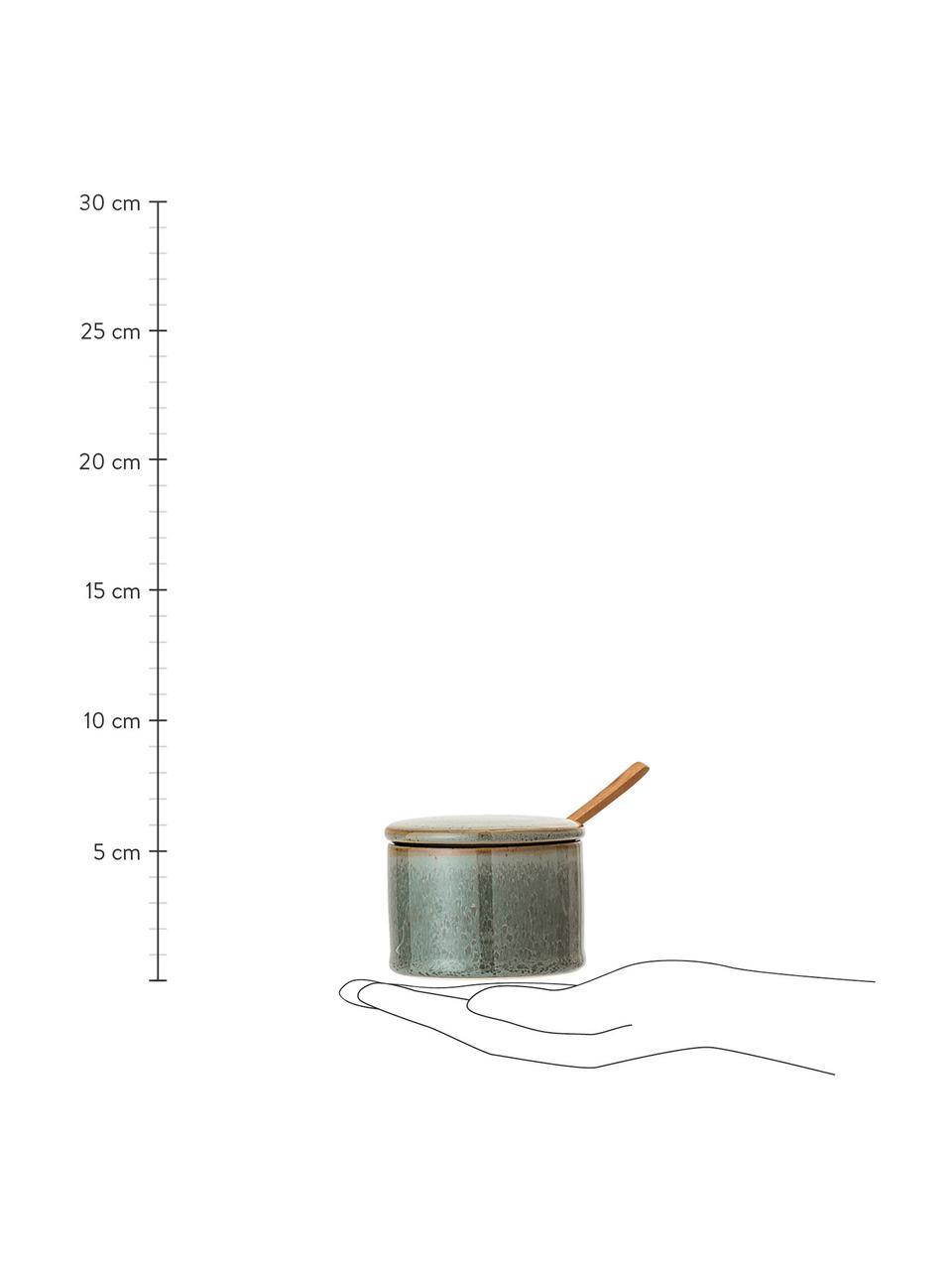 Sucrier avec cuillère en bois Pixie, Tons verts