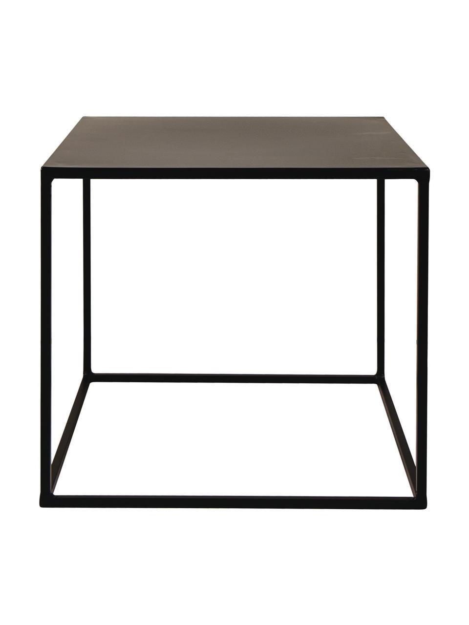 Tavolino in metallo Expo, Metallo verniciato a polvere, Nero, Larg. 40 x Prof. 40 cm