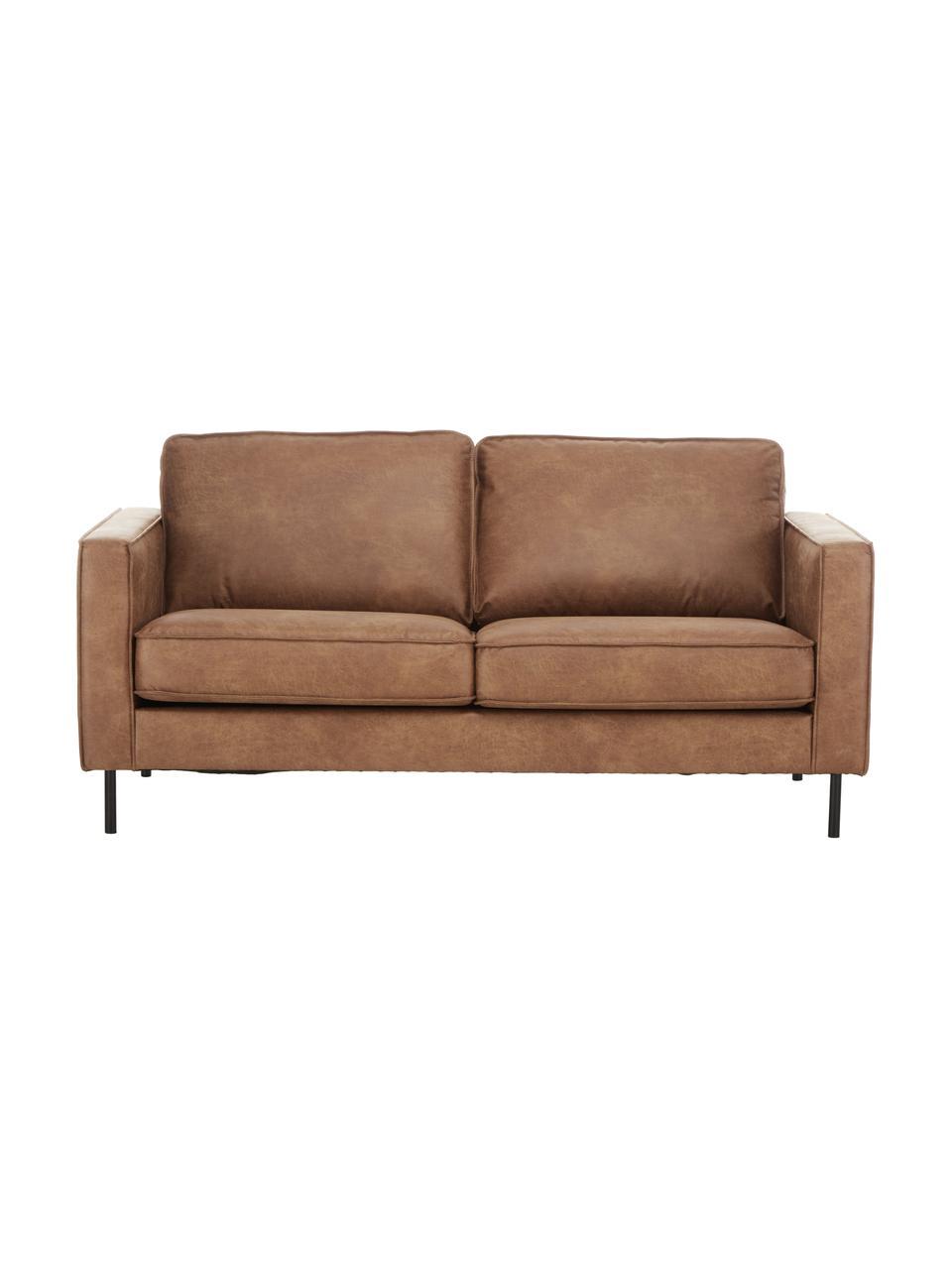 Sofa skórzana z recyklingu Hunter (2-osobowa), Tapicerka: skóra z recyklingu (70% s, Nogi: tworzywo sztuczne, Brązowy, S 164 x G 90 cm