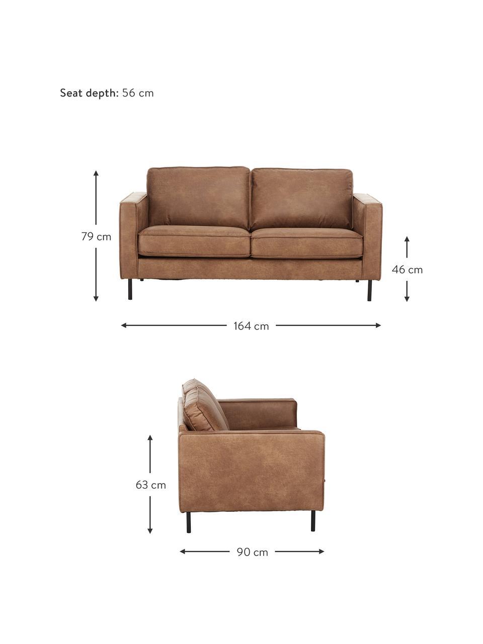 Sofa Hunter (2-Sitzer) in Braun aus recyceltem Leder, Bezug: Recyceltes Leder (70% Led, Gestell: Massives Birkenholz und h, Füße: Metall, pulverbeschichtet, Leder Braun, B 164 cm x T 90 cm