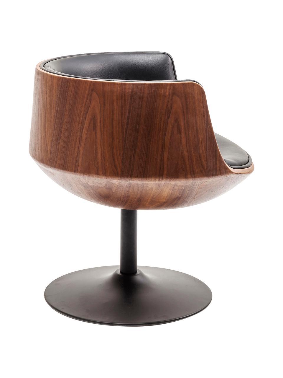 Krzesło obrotowe Club, Tapicerka: sztuczna skóra (100% tkan, Noga: stal powlekana, Brązowy, czarny, S 62 x G 61 cm