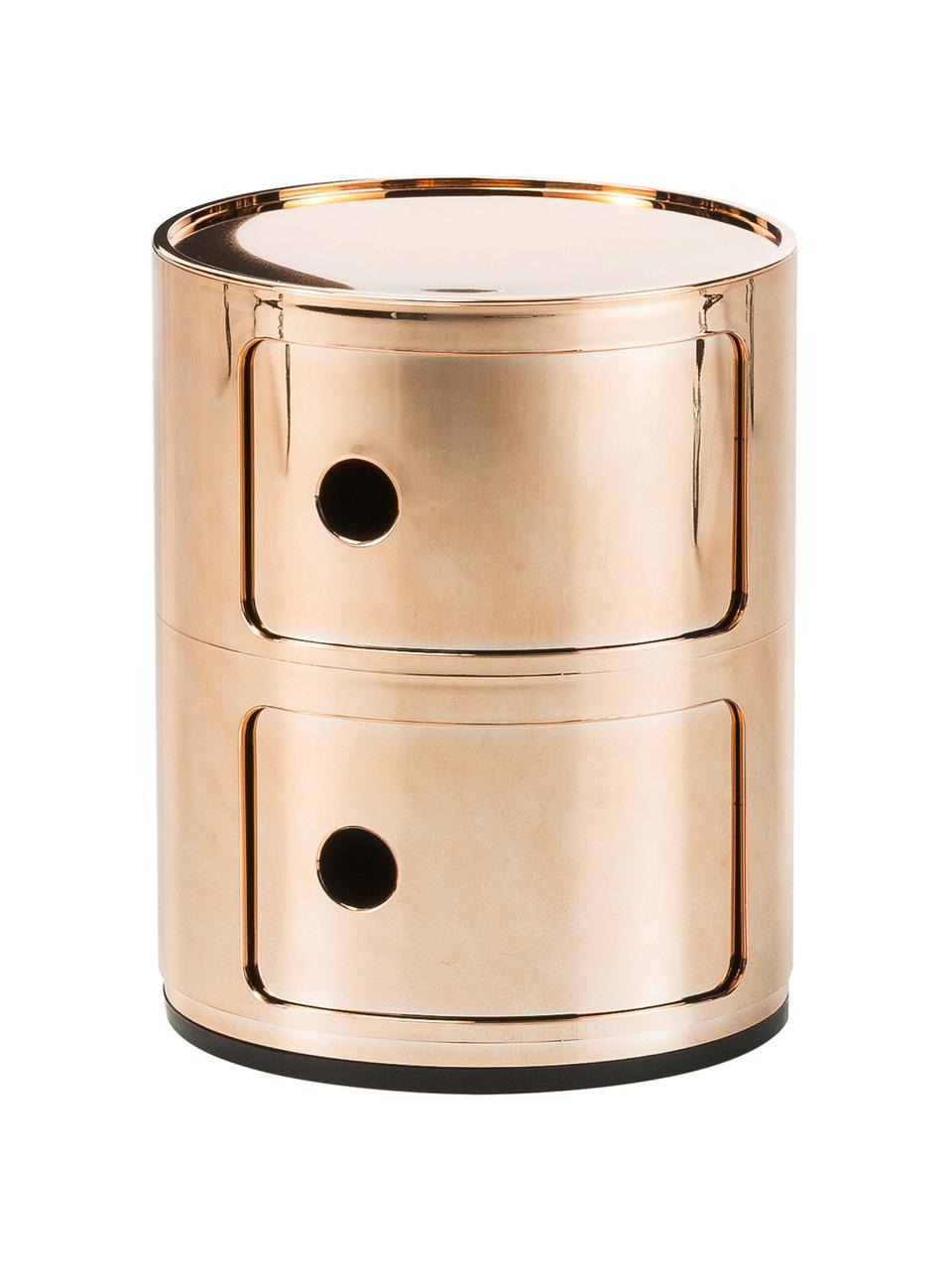 Comodino contenitore di design con 3 cassetti Componibili, Materiale sintetico (ABS), verniciato, Oro, Ø 32 x Alt. 40 cm