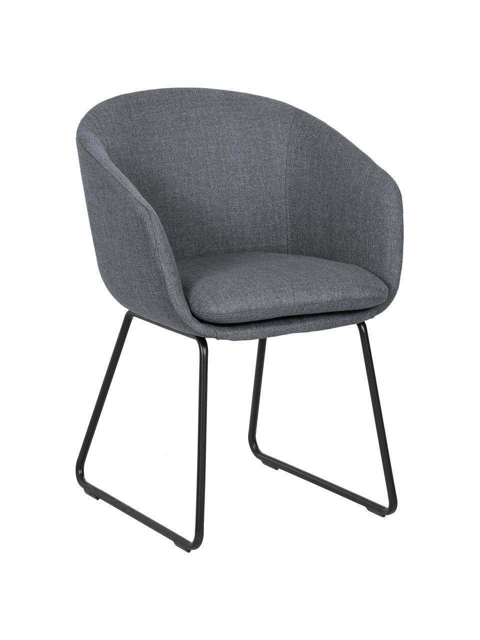 Čalouněná židle spodručkami Juri, Tmavě šedá
