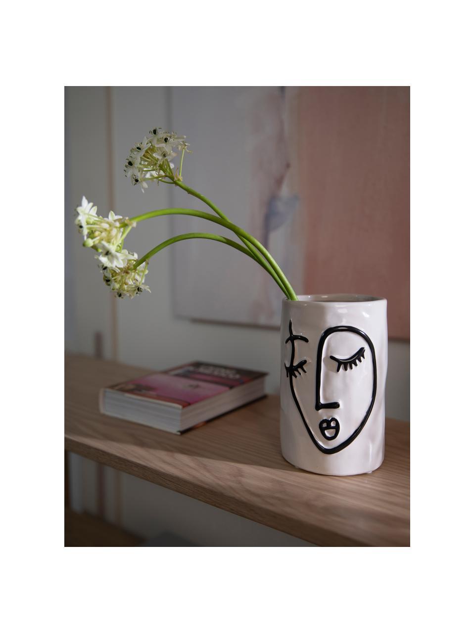 Portavaso di design in gres Face, Gres, Bianco latteo, nero, Ø 11 x Alt. 18 cm
