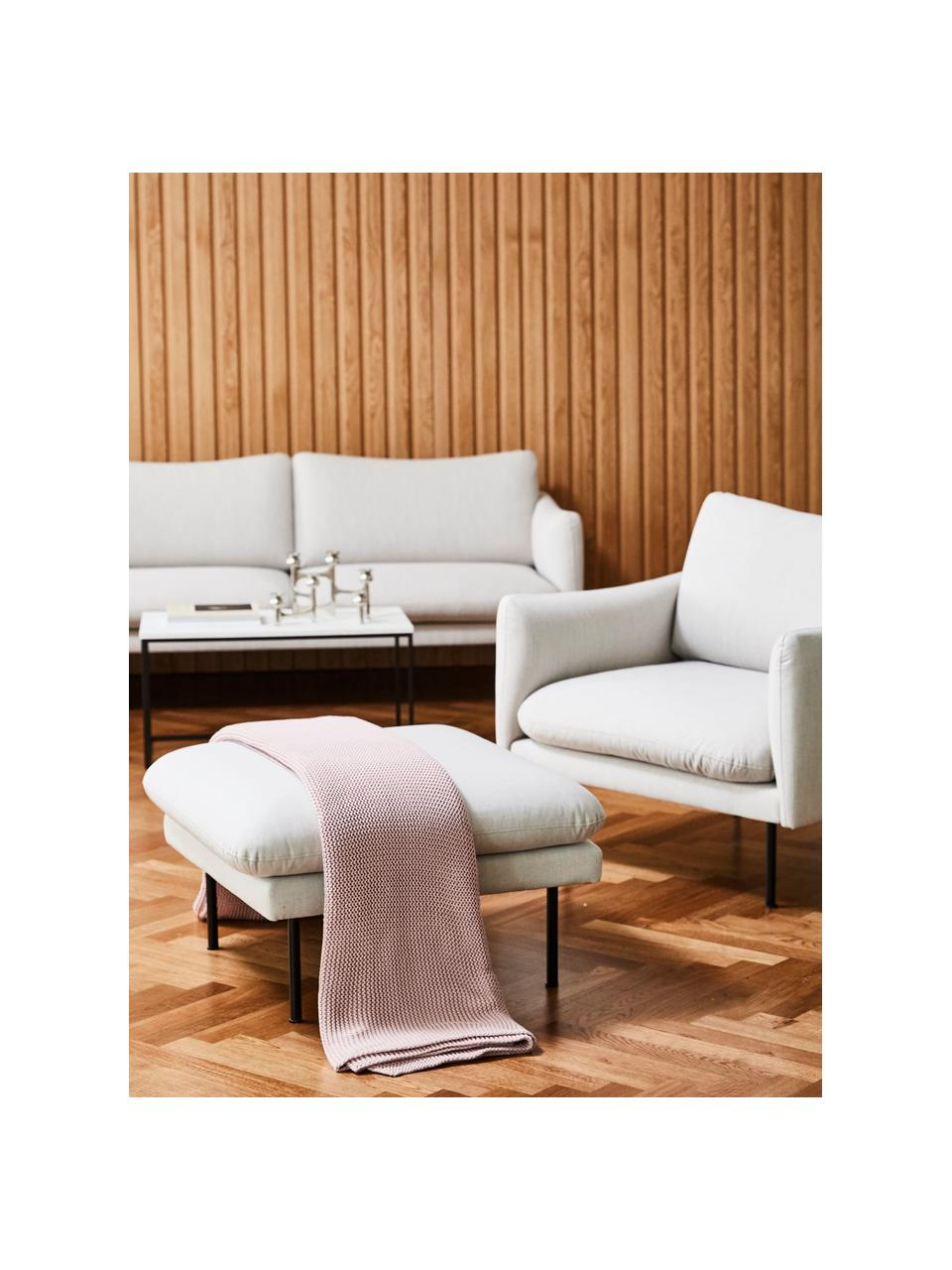 Poggiapiedi da divano in tessuto beige Moby, Rivestimento: poliestere Con 60.000 cic, Struttura: legno di pino massiccio, Piedini: metallo verniciato a polv, Tessuto beige, Larg. 78 x Alt. 48 cm