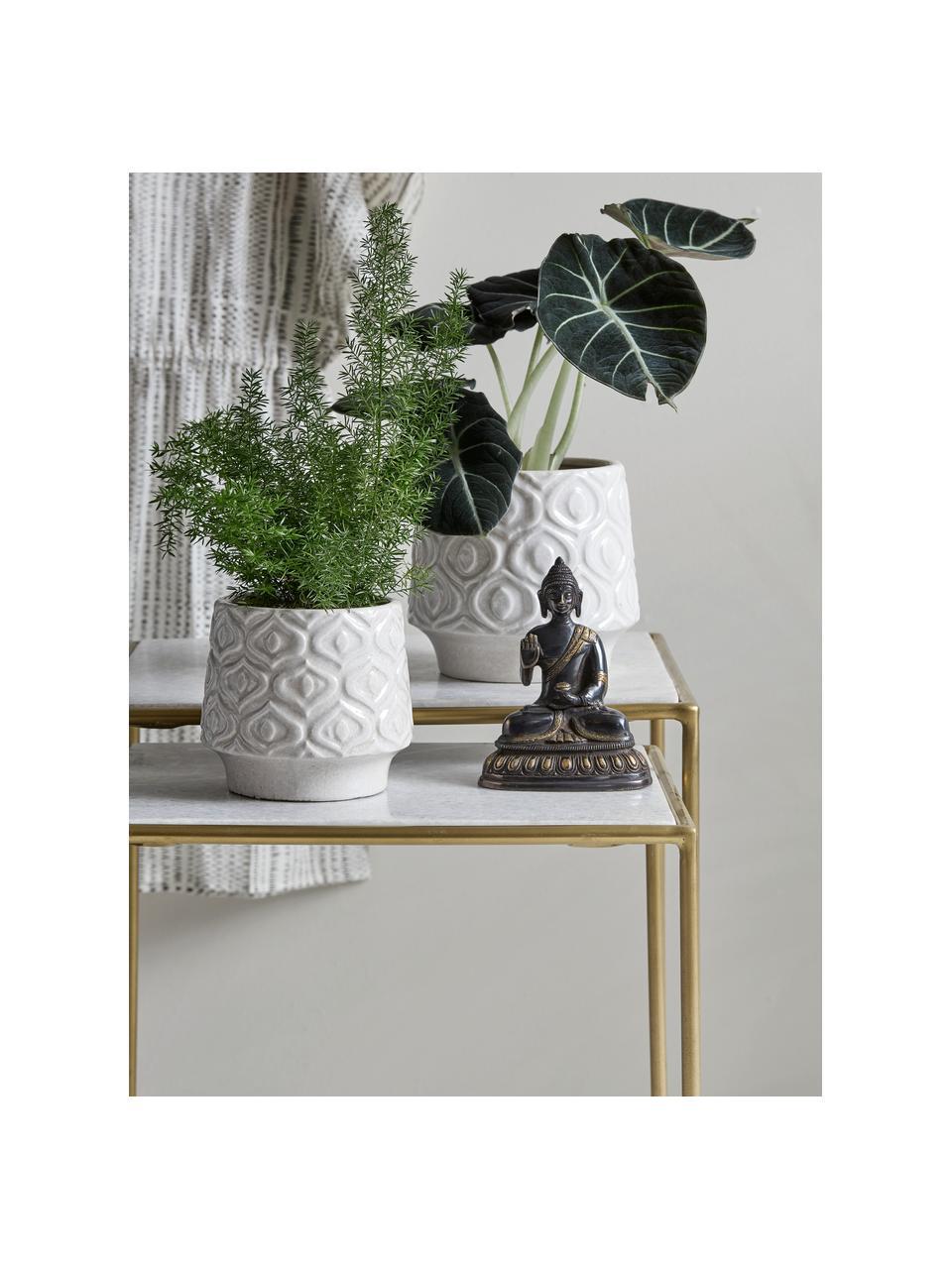 Marmor-Beistelltisch 2er-Set Zoe, Gestell: Metall, lackiert, Weiß, Sondergrößen