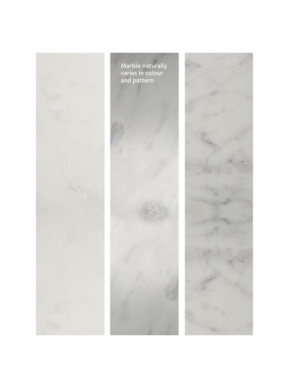 Marmeren bijzettafel 2-delig Zoe, Frame: gelakt metaal, Wit, Set met verschillende formaten