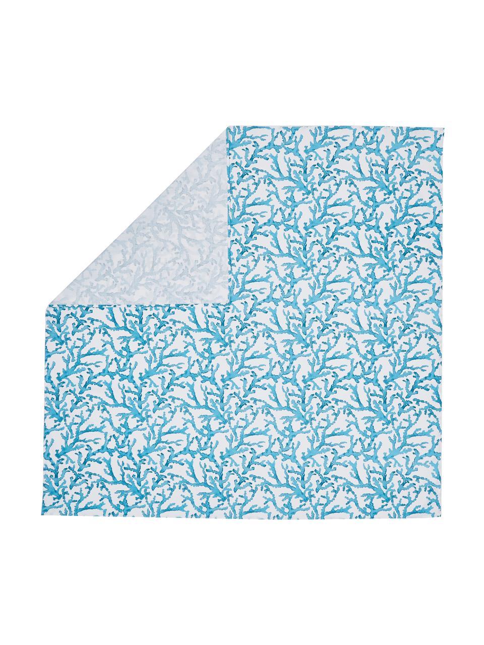 Katoenen tafelkleed Estran met koraalprint, Katoen, Blauw, wit, Voor 4 - 6 personen (B 160 x L 160 cm)