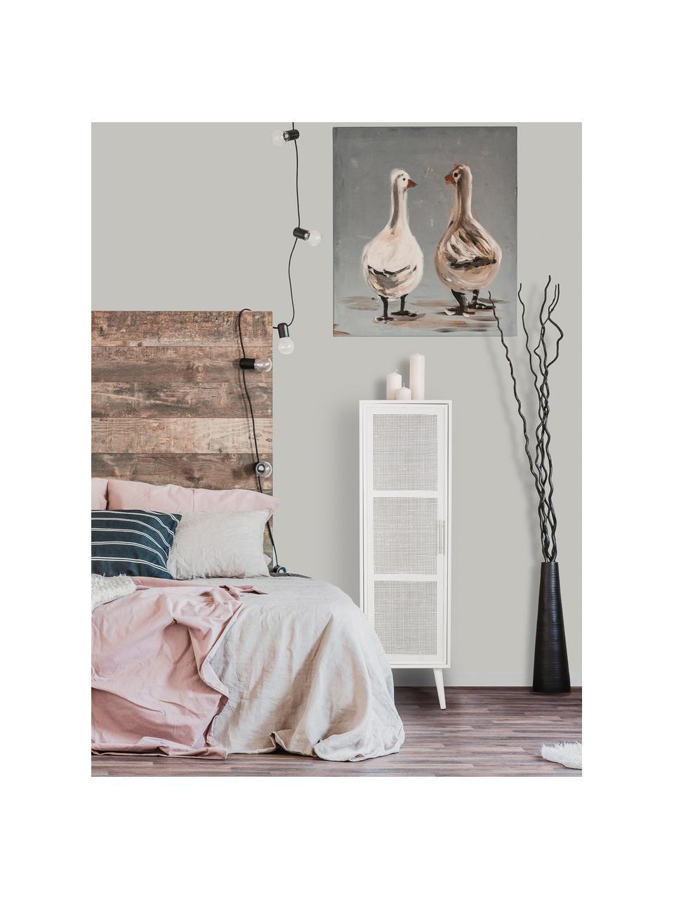 Wysoka komoda z drewna Cayetana, Korpus: płyta pilśniowa średniej , Nogi: drewno bambusowe, lakiero, Biały, S 37 x W 140 cm