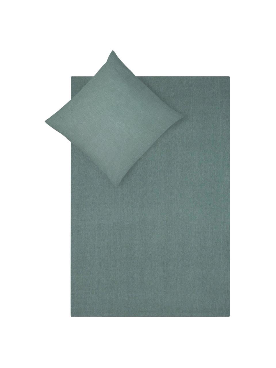 Pościel z bawełny z efektem sprania Arlene, Ciemnyzielony, 155 x 220 cm + 1 poduszka 80 x 80 cm