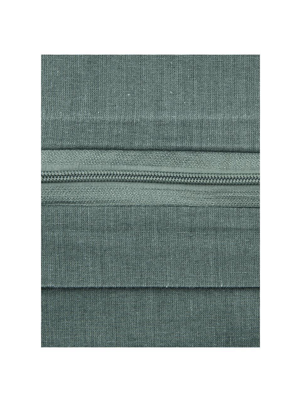 Pościel z bawełny z efektem sprania Arlene, Ciemnyzielony, 135 x 200 cm + 1 poduszka 80 x 80 cm