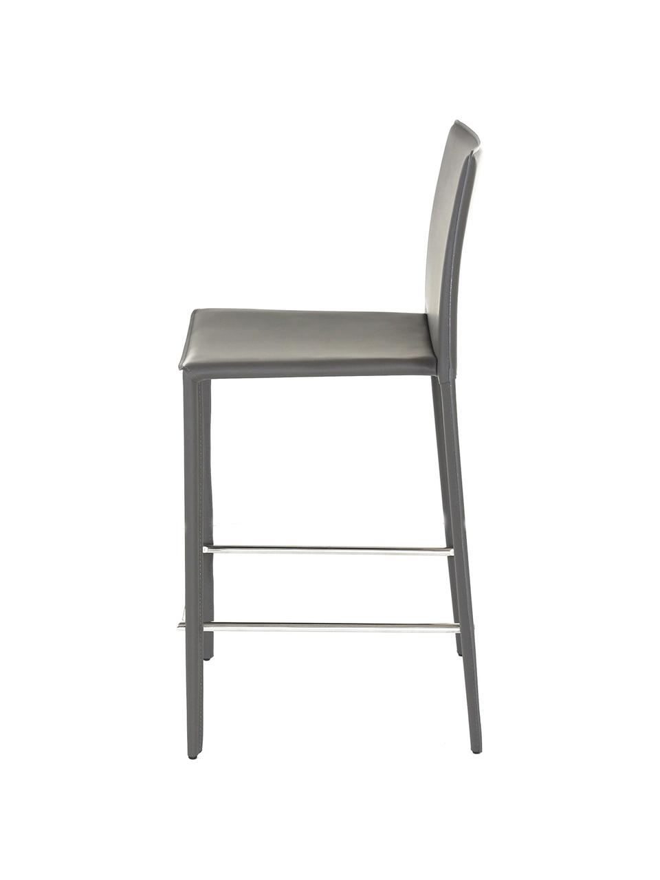 Sedia da bar in pelle Boréalys 2 pz, Seduta: pelle riciclata (70% pell, Struttura: metallo verniciato a polv, Grigio, Larg. 44 x Alt. 98 cm