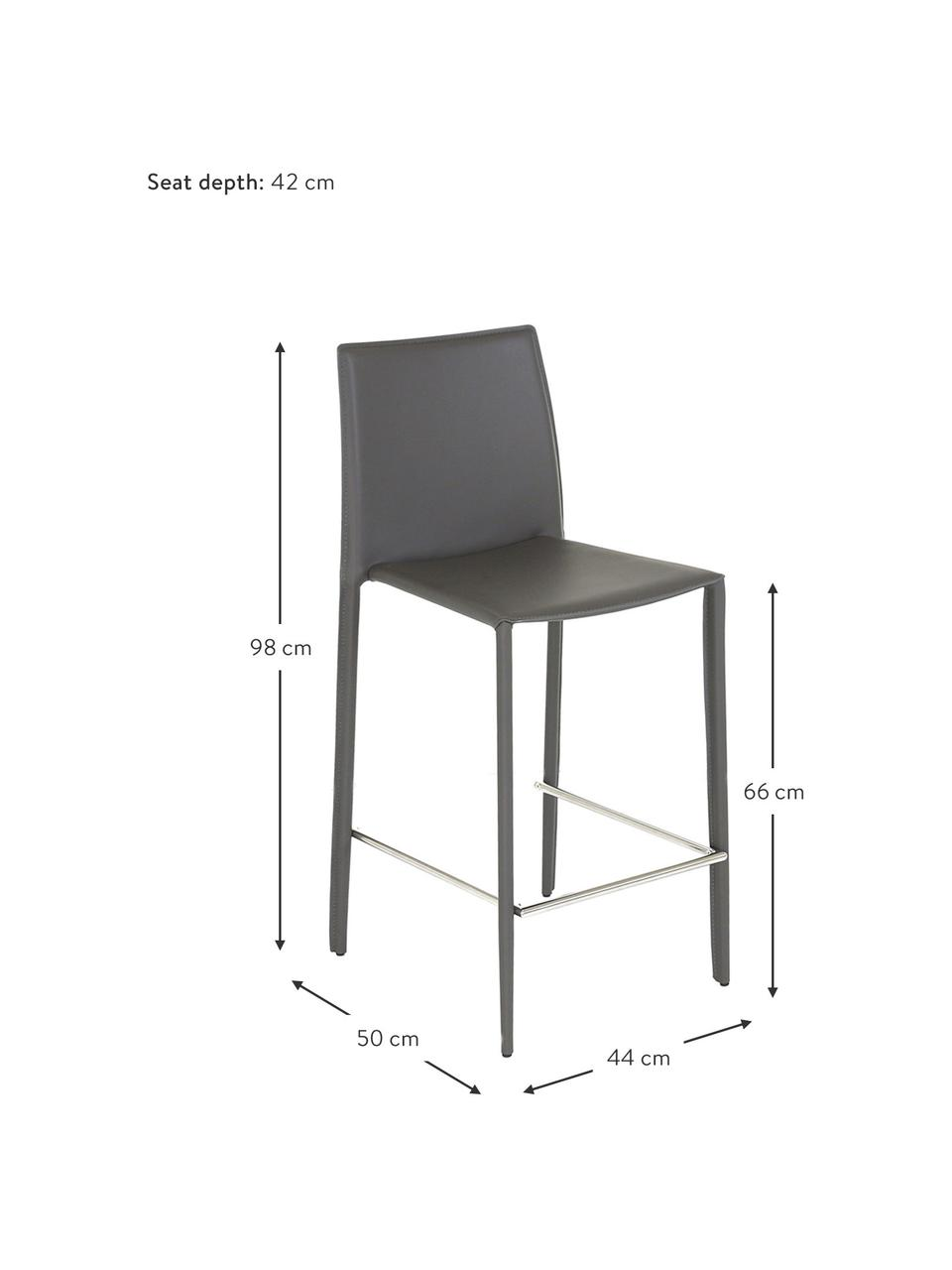 Krzesło kontuarowe ze skóry Boréalys, 2szt., Stelaż: metal malowany proszkowo, Szary, S 44 x W 98 cm