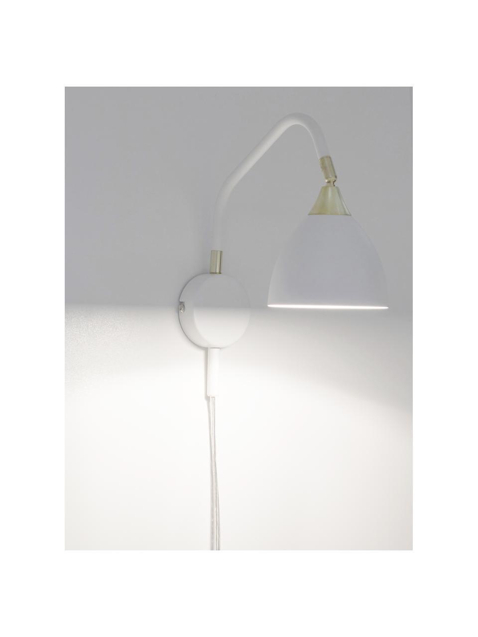 Wandleuchte Luis mit Stecker, Lampenschirm: Metall, lackiert, Gestell: Metall, lackiert, Dekor: Metall, lackiert, Weiß, Messingfarben, 12 x 29 cm