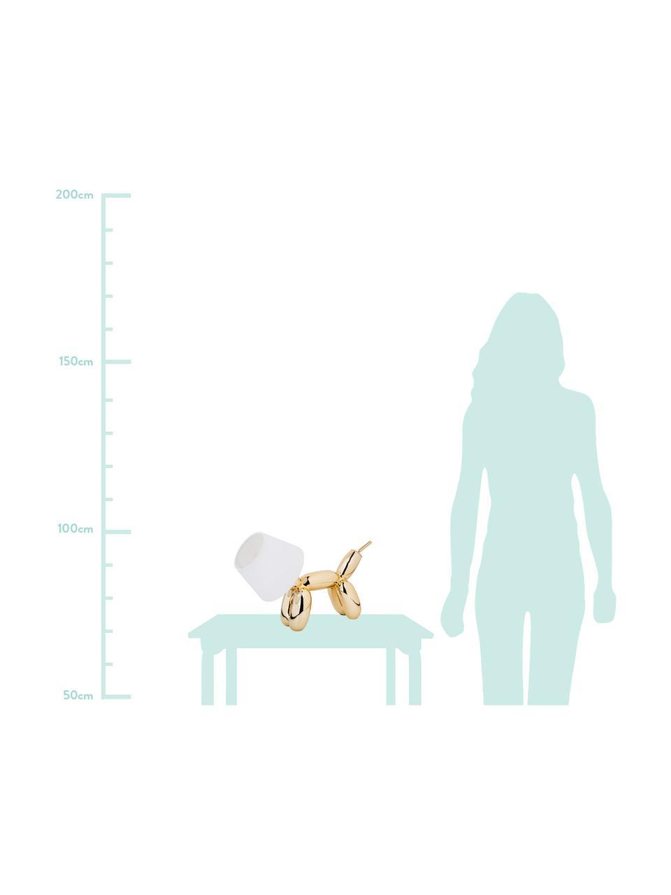 Kleine Design Tischlampe Doggy, Lampenfuß: Kunstharz, Goldfarben, Weiß, 40 x 30 cm
