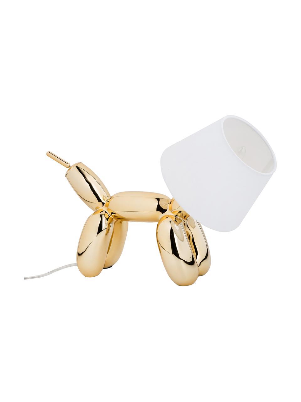 Lampada da tavolo di design Doggy, Struttura: resina sintetica, Dorato, bianco, Larg. 40 x Alt. 30 cm