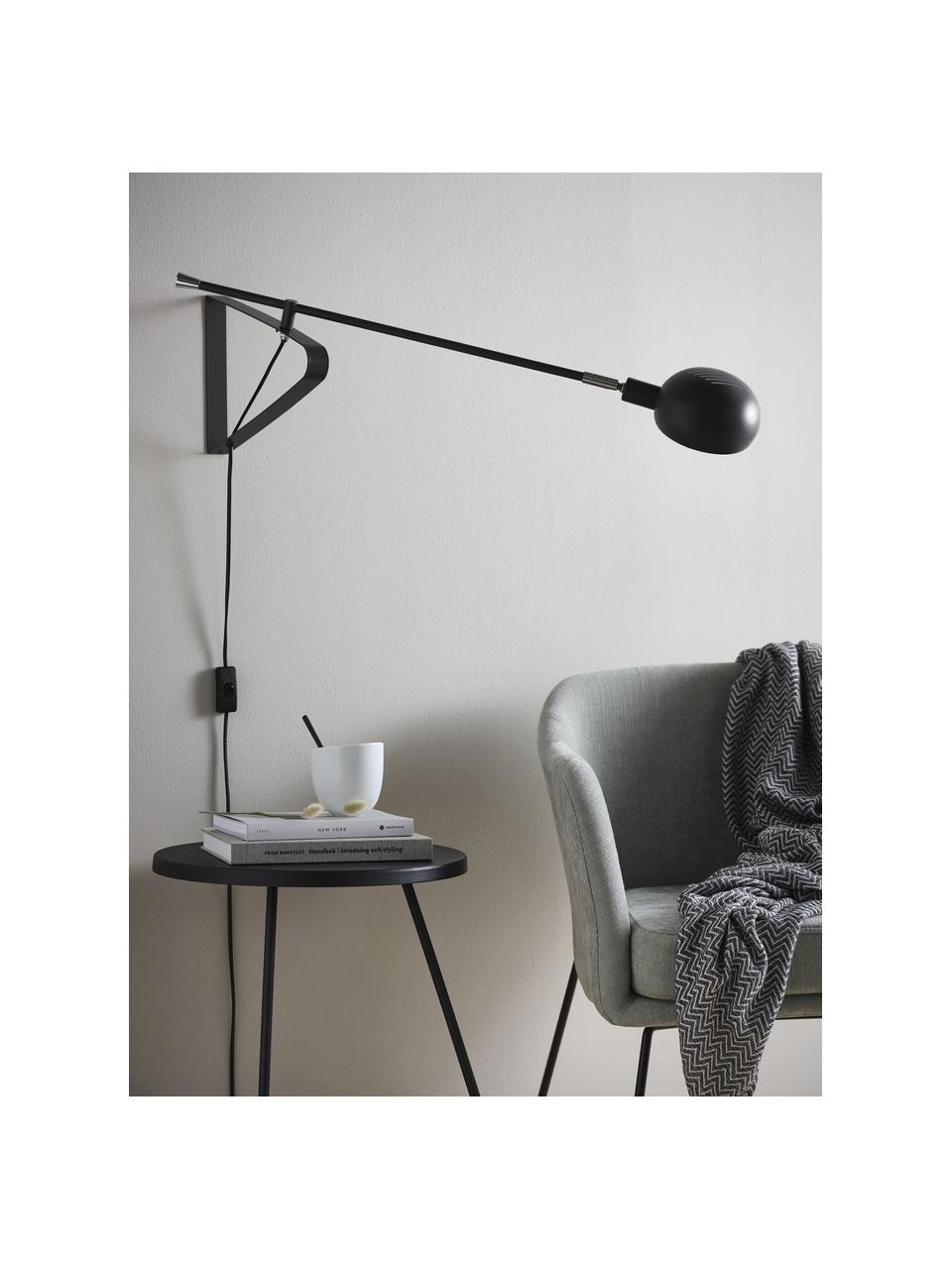 Große Wandleuchte Lincon mit Stecker, Lampenschirm: Metall, lackiert, Dekor: Metall, Schwarz, 80 x 21 cm