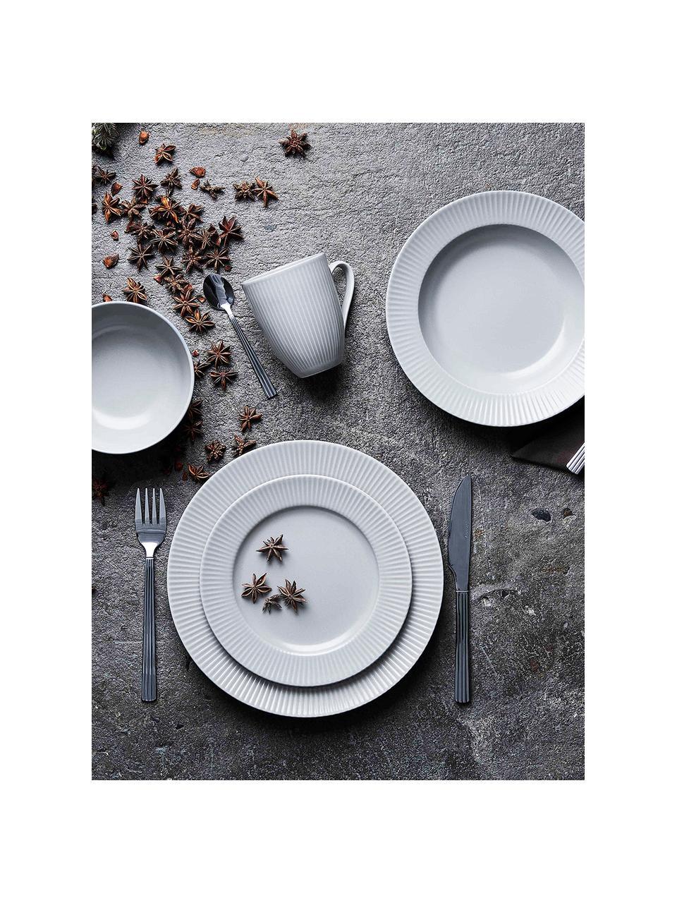 Weiße Kaffeetassen Groove mit Rillenstruktur, 4 Stück, Steingut, Weiß, Ø 9 x H 11 cm