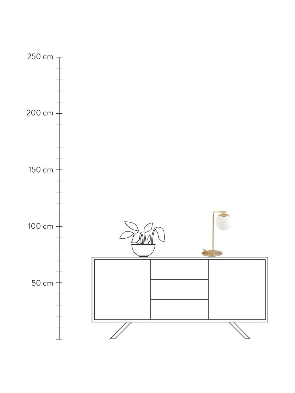 Tischlampe Grant in Messing, Lampenfuß: Messing, Lampenschirm: Opalglas, Messing, Weiß, 20 x 41 cm