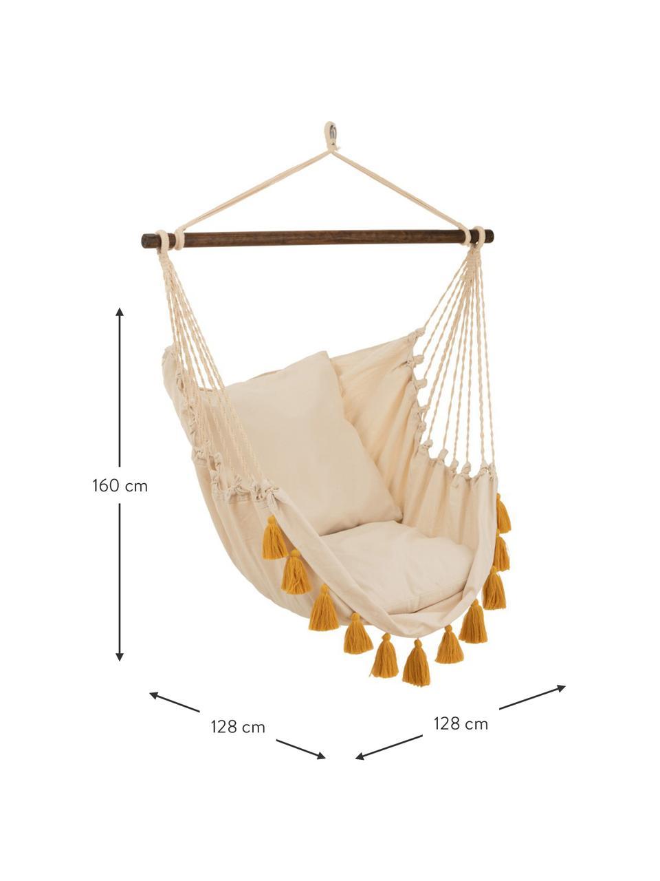 Fotel wiszący z chwostami Quast, Odcienie kremowego, brunatnożółty, S 128 x W 160 cm