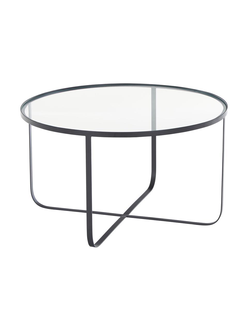 Metalen salontafel Harper met glazen tafelblad, Frame: gepoedercoat metaal, Tafelblad: glas, Zwart, Ø 80 x H 43 cm