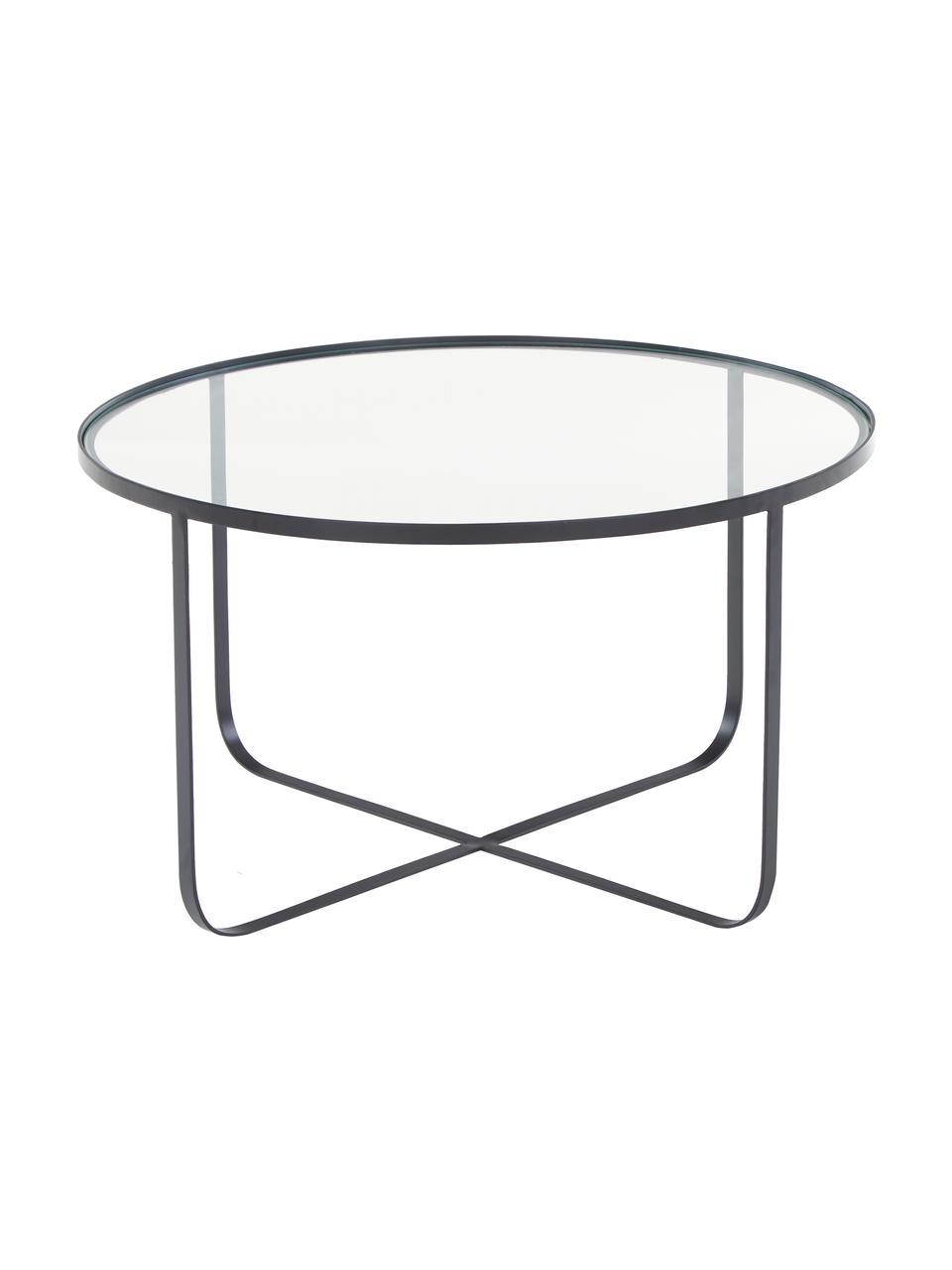 Kovový konferenční stolek se skleněnou deskou Harper, Černá