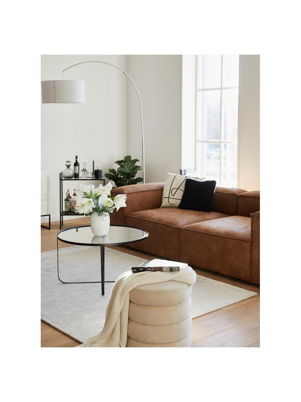 Tavolino da salotto in metallo nero Harper, Struttura: metallo verniciato a polv, Piano d'appoggio: piano in vetro, Nero, Ø 80 x Alt. 43 cm