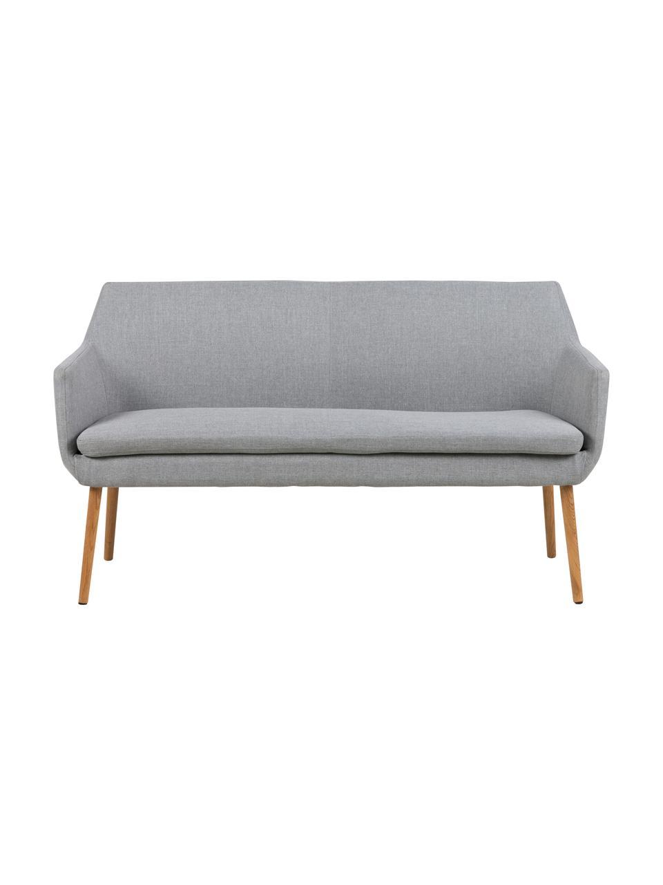 Graue Esszimmerbank Nora mit Lehne, Bezug: 100% Polyester, Gestell: Eichenholz, Webstoff Grau, Beine Eichenholz, 159 x 86 cm