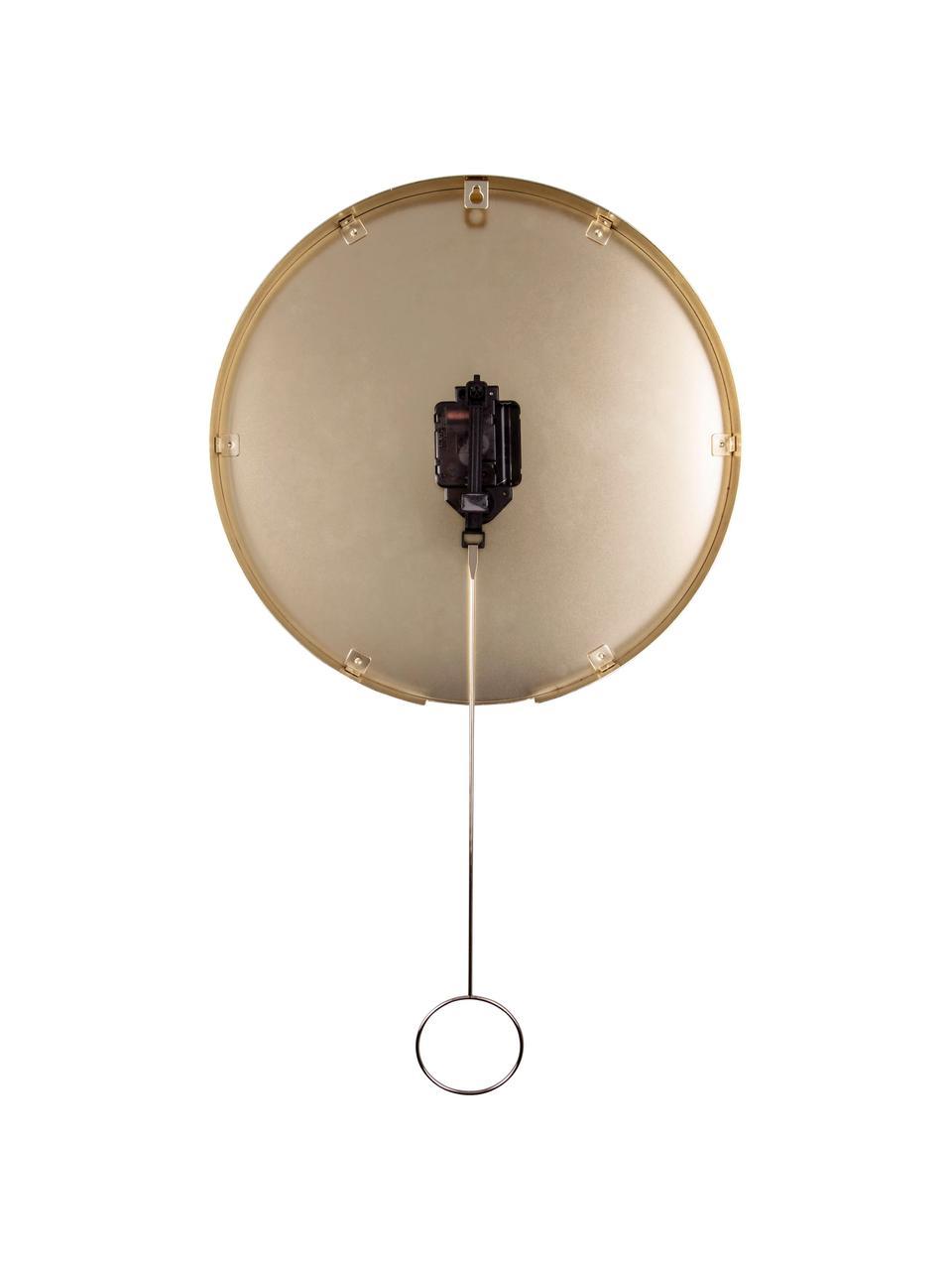 Zegar ścienny Pendulum, Metal powlekany, Czarny, odcienie mosiądzu, Ø 34 cm