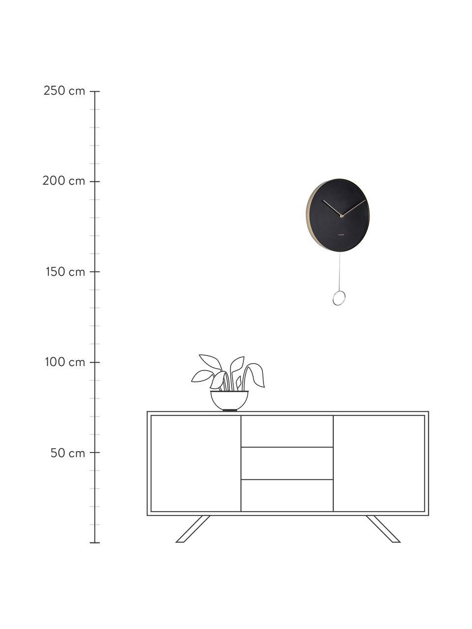 Wanduhr Pendulum, Metall, beschichtet, Schwarz, Messingfarben, Ø 34 cm