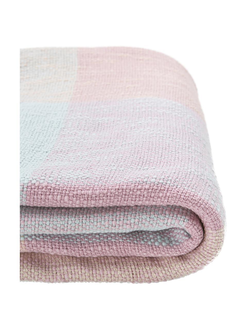 Karierte Baumwolldecke Karen mit Fransenabschluss in Pastelltönen, 100% Baumwolle, Rosa, 130 x 170 cm