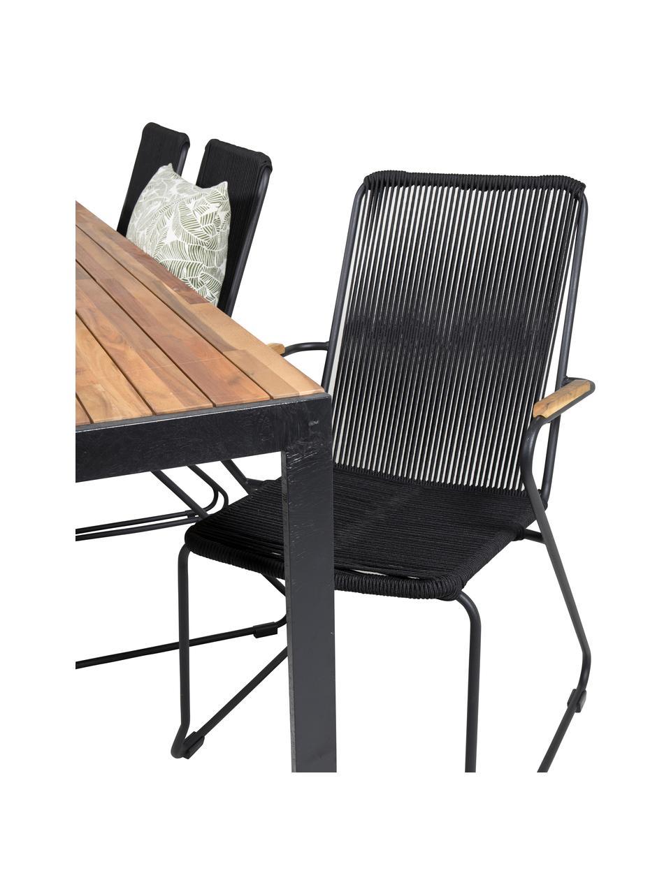 Tuinmeubelset Bois, 7-delig, Zitvlak: touw, gecoat, Zwart, bruin, Set met verschillende formaten