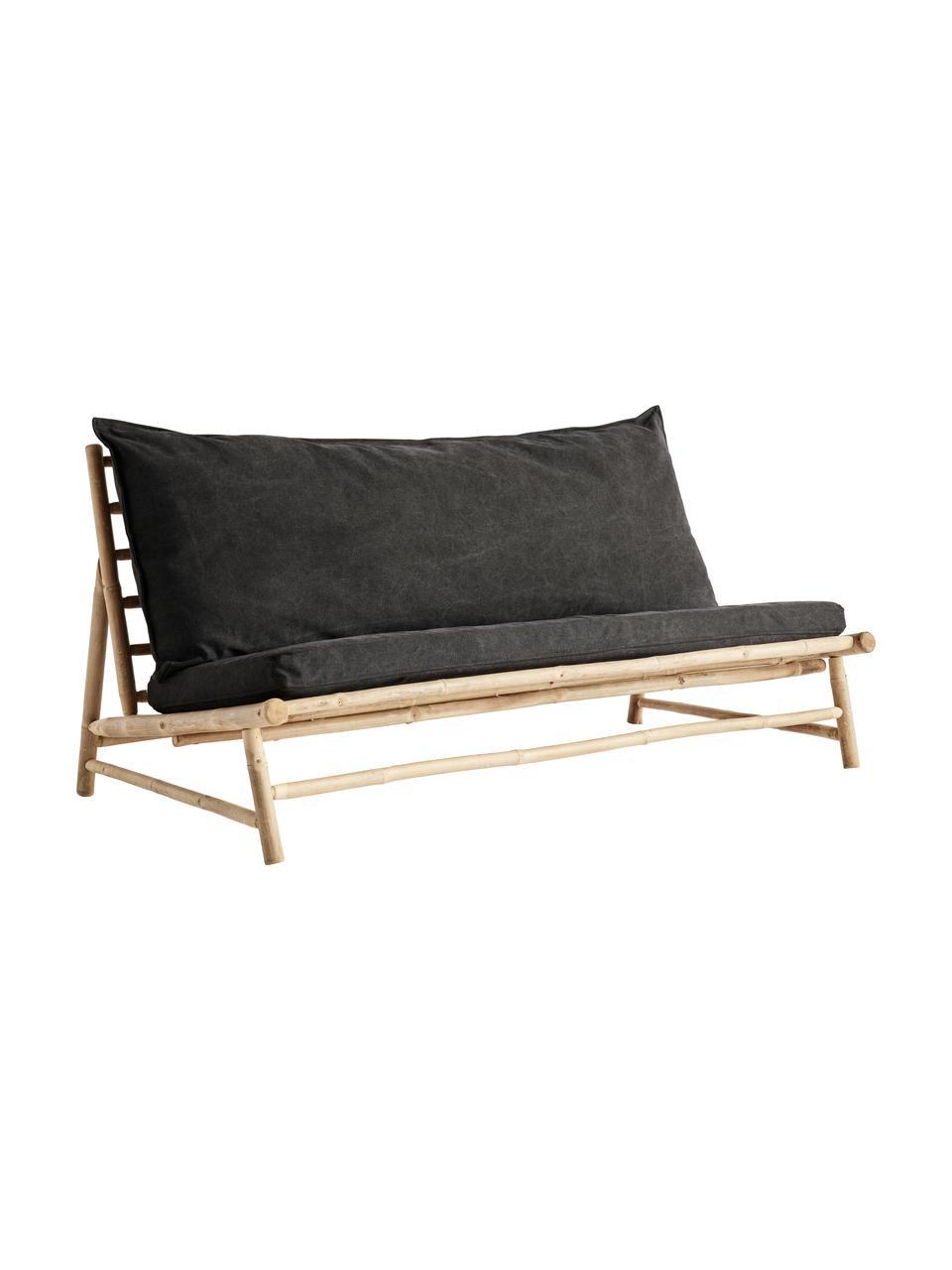 Canapé lounge en bambou avec matelas rembourré Bamslow, Gris foncé, brun