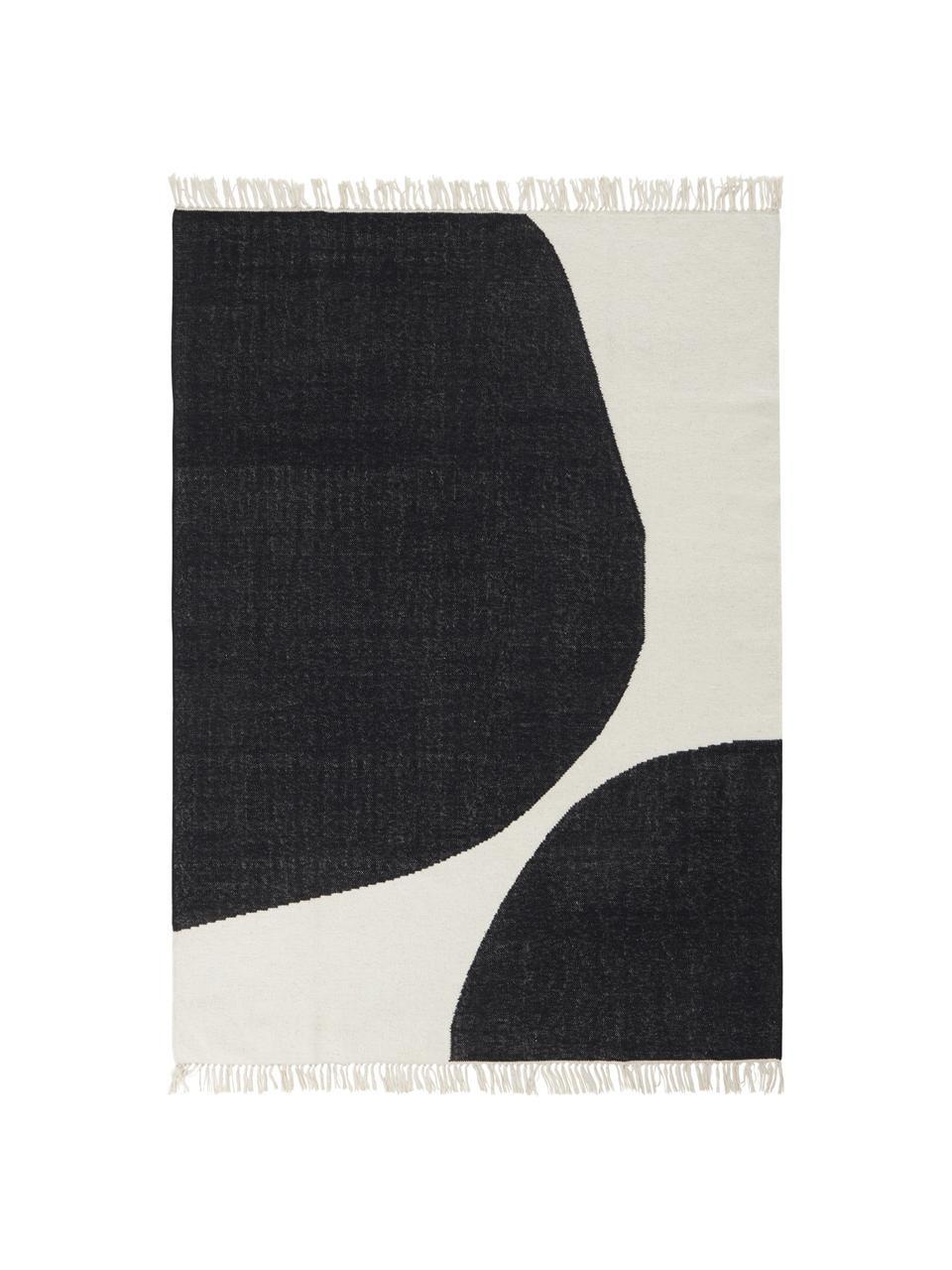 Ręcznie tkany dywan z wełny Stones, 81% wełna, 19% bawełna, Złamana biel, antracytowy, S 160 x D 230 cm (Rozmiar M)