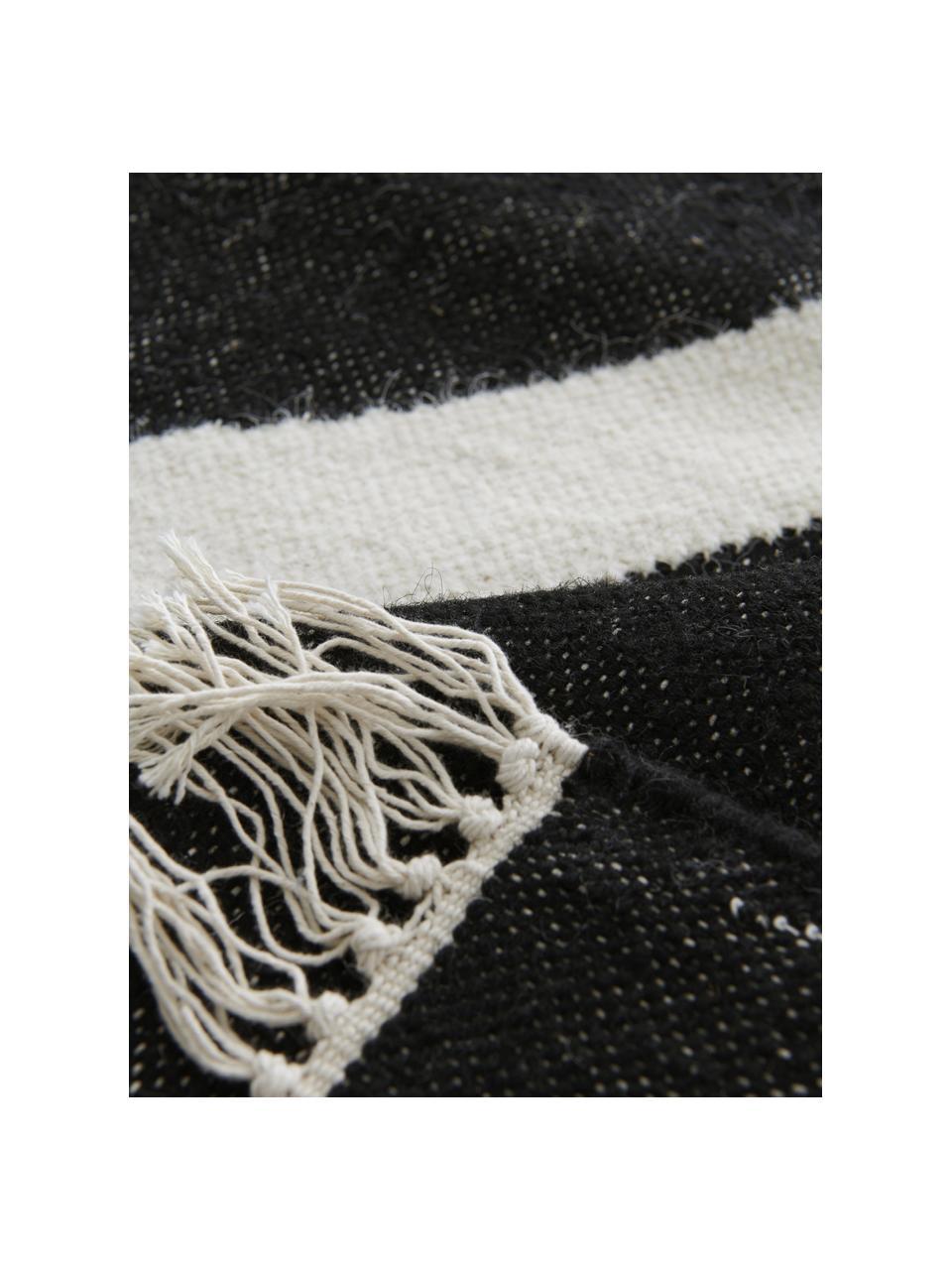 Tapis en laine tissé à la main Stones, Blanc cassé, anthracite