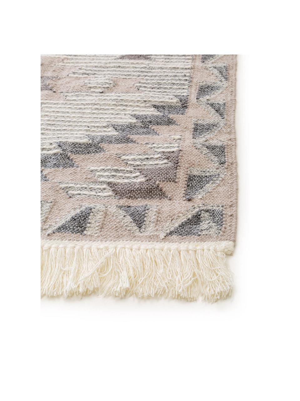 Ręcznie tkany dywan kilim Cari, 70% wełna, 30% poliester, Szary, S 80 x D 150 cm (Rozmiar XS)