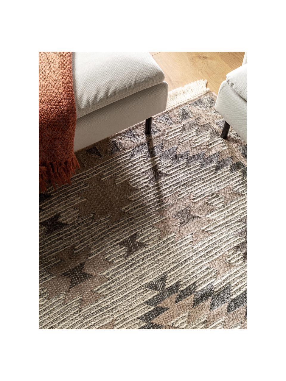 Handgewebter Wollteppich Cari mit Ethno-Muster, 70% Wolle, 30% Polyester, Grau, B 80 x L 150 cm (Größe XS)